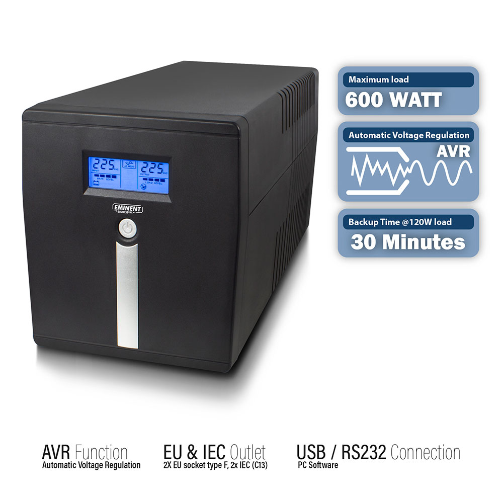 Line Interactive UPS 1000 VA - 600W with AVR, LCD display 2x CEE7/3, 2x C13, 1x USB, 1x RS232