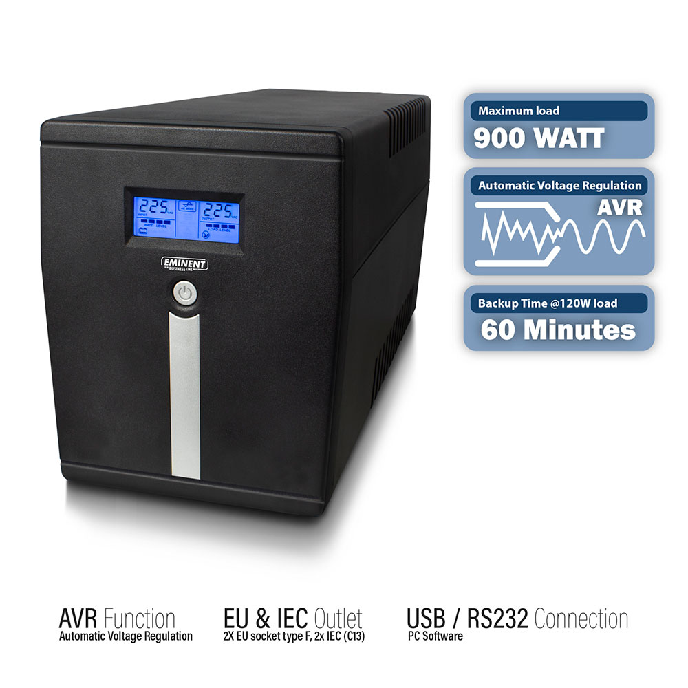 Line Interactive UPS 1500 VA - 900W with AVR, LCD display, 2x CEE7/3, 2x C13, 1x USB, 1x RS232