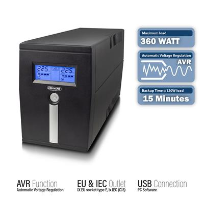 Line Interactive UPS 600 VA - 360 W with AVR, LCD display, 1x CEE7/3, 1x C13, 1x USB
